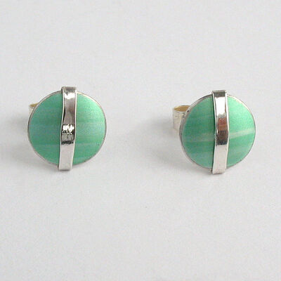 LN4 Dome stud earrings with silver line in green