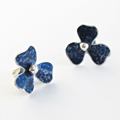 RS1 Trefoil stud earrings in indigo