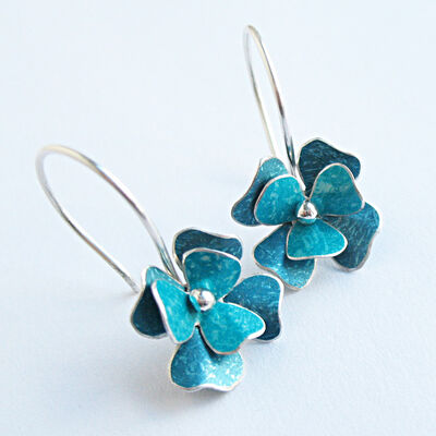 RS2 Double layer rosa drop earrings in turquoise blue