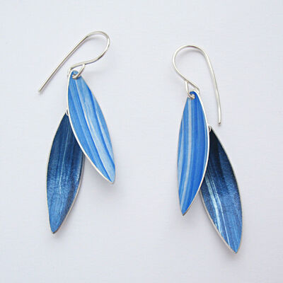 LC3 Two leaf drop earrings in royal blue/indigo