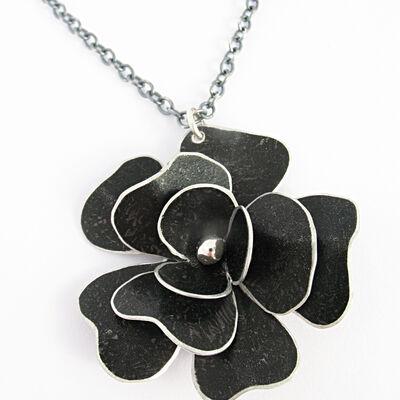 RS4 Triple layer black rosa pendant on chain