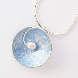 SP3 Spiral disc pendant in light blue