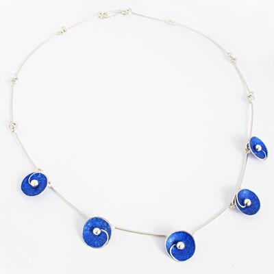 SP5 Spiral disc necklace in royal blue