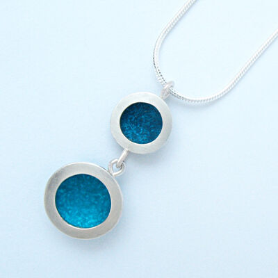OR9 Double silver circles pendant in petrol and turquoise blue