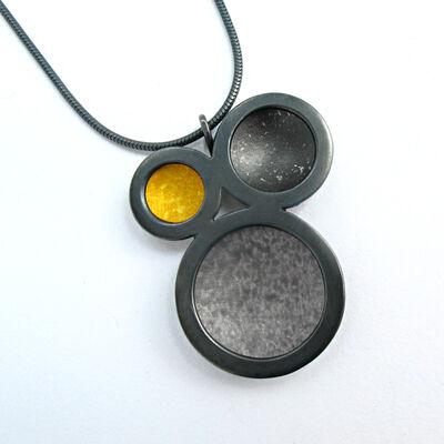 OR13 Oxidised silver triple circle pendant in grey/black/yellow
