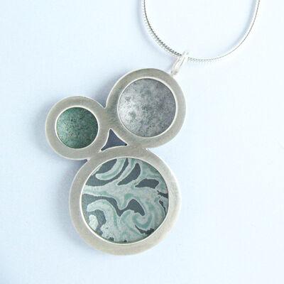 OR14 Silver triple circle orbit pendant in grey/grey green/Alyssa pattern