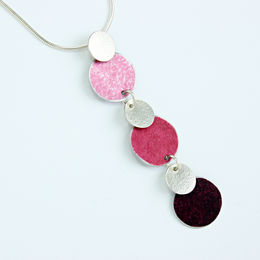 SL40 Pink, berry and silver disc pendant
