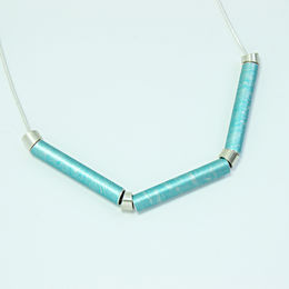 SL54 Pale turquoise blue and silver tube necklace