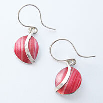 SH6 Half circle dome drop earrings with silver curve in red