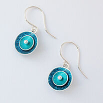 CD2 Double concave drop earrings in petrol and jade