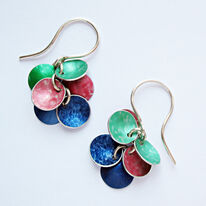 CD18 Six concave disc drop earrings in green, peach and indigo