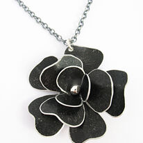 RS4 Triple layer black rosa pendant on chain