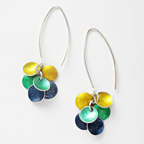CD21 Six concave disc drop earrings in yellow, green and indigo