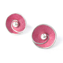 SP1 Spiral disc stud earrings in pink