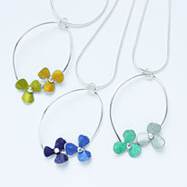 RS10 Double rosa trefoil pendants in lime/yellow, blue/indigo and green/grey green