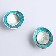 AL14 Concave double disc stud earrings in silver and Alyssa turquoise blue