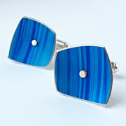 SL33 Strata cufflinks in turquoise/royal blue