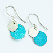 SL37 Turquoise blue and silver disc drop earrings