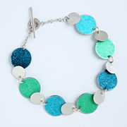 SL41 Green, turquoise, petrol and silver disc bracelet