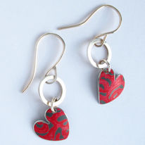 SL6 Silver hoops and red Alyssa heart drop earrings