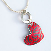 SL8 Silver hoop and red Alyssa heart pendant