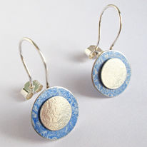 SL37 Light blue and silver flat disc drop earrings