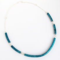SL51 Petrol blue large tube necklace