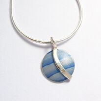LN6 Light blue dome with silver curve pendant