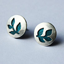 SLT1 Silver stud earrings in petrol blue