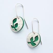SLT3 Silver drop earrings in forest green
