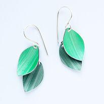 LC1 Double leaf drop earrings in green/grey green
