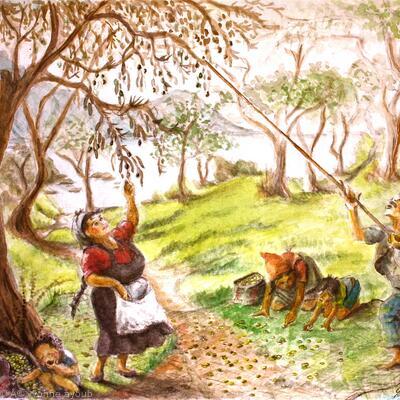 Olive pickers at Kehrya
