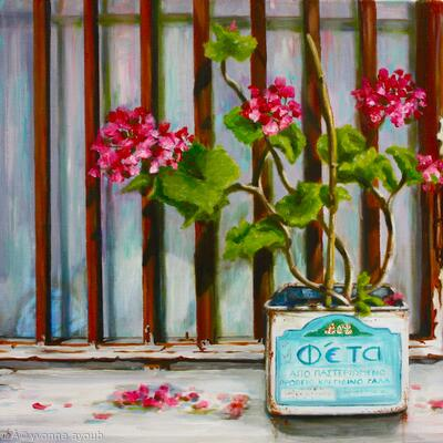 Feta tin with Geraniums