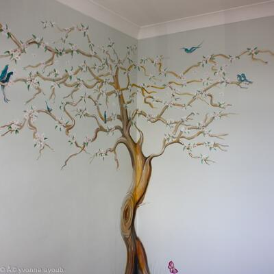 Finished Apple Blossom Tree Mural