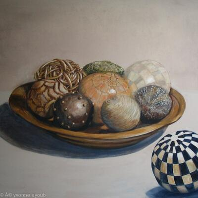 Wooden Bowl with Spheres