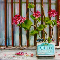 Feta tin with Geraniums