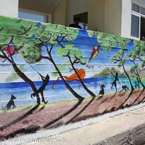 'Kite flying at Koukounaries' Mural, Skiathos Port