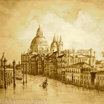 Venice Grand Canal in Sepia