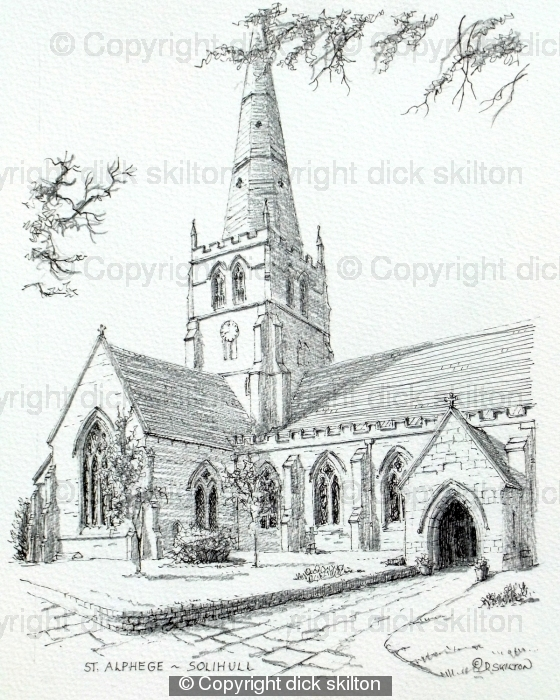 Solihull Church St Alphege Black & White drawing, greeting card
