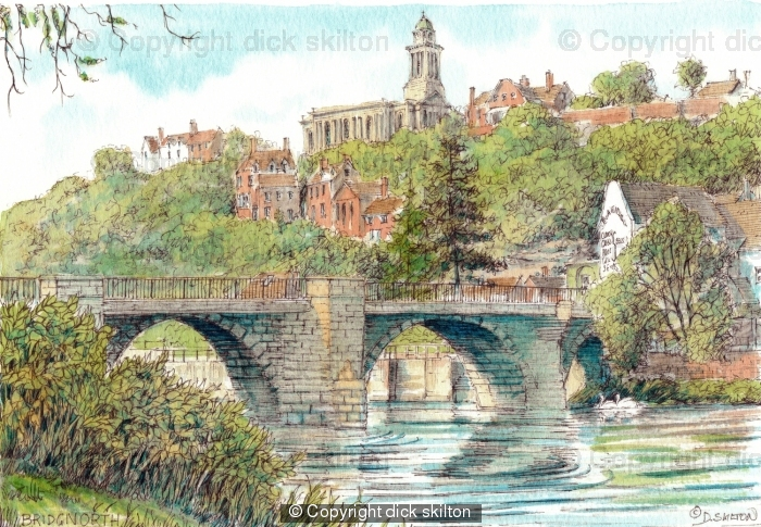 Bridgnorth and The River Severn with St Mary's, greeting card