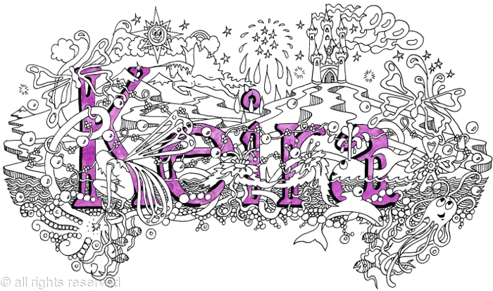 Keira name art greeting card with purple envelope. Mounted ...