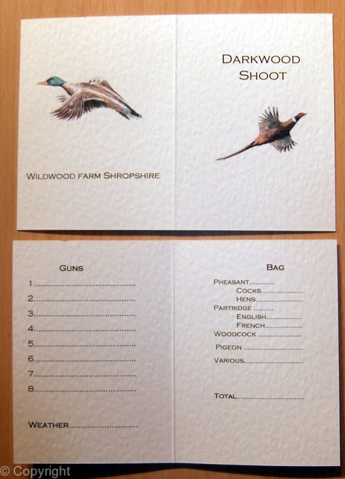 Darkwood Shoot Example Bespoke Game Or Shoot Card