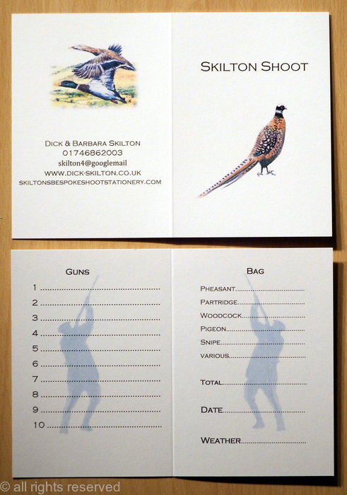 Skilton Shoot Card With Reeves Pheasant Image Printed On