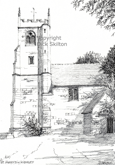 Highley Church St Mary's pen drawing as a greeting card, notelet or invitation or thank-you card.