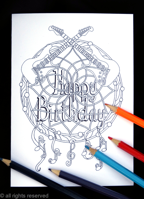 Colouring In Card Dream Catcher With Happy Birthday Woven Into It Any Name Or Very