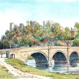 Dinham Bridge and Ludlow Castle Ludlow Shropshire, greeting card