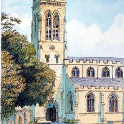 Broseley Church All Saints Shropshire as a greeting card. Prints available.