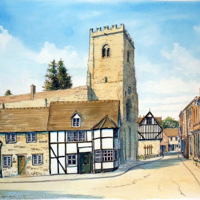 Much Wenlock Bull Ring With Holy Trinity Church Shropshire as a greeting card. prints available, also postcards.