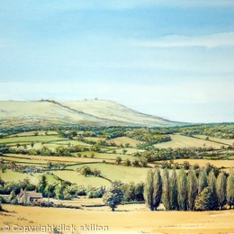 Clee Hill from Six Ashes Nr. Cleobury Mortimer Shropshire as a greeting card. Prints available.