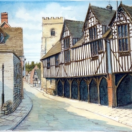 Much Wenlock Shropshire the Market hall and church tower as a greeting card